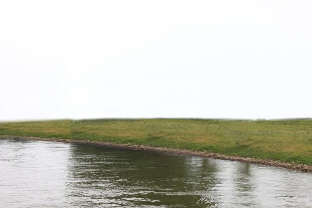 De uiterwaarden van de IJssel op dit moment en een impressie van hoe dat landschap er na de kapwerkzaamheden uit zou kunnen gaan zien (fotobewerking Lidwien Heersink).